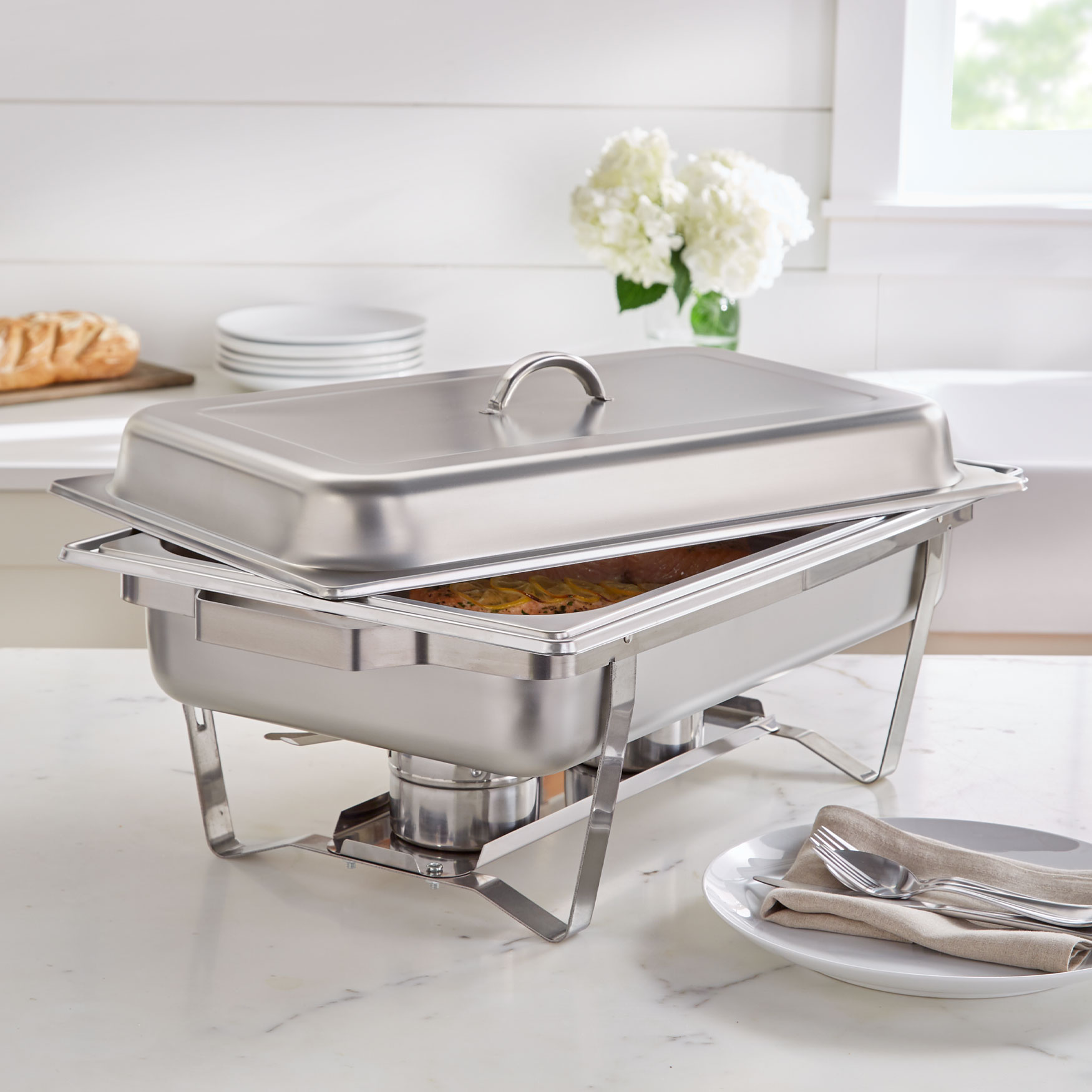 9-Qt. Stainless Rectangular Chafing Dish, STAINLESS