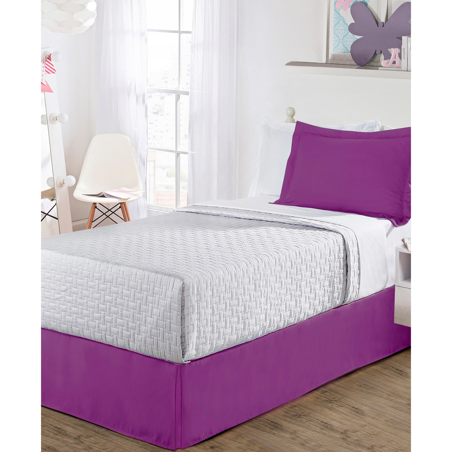 "Luxury Hotel Classic Tailored 14"" Drop Purple Bed Skirt,"