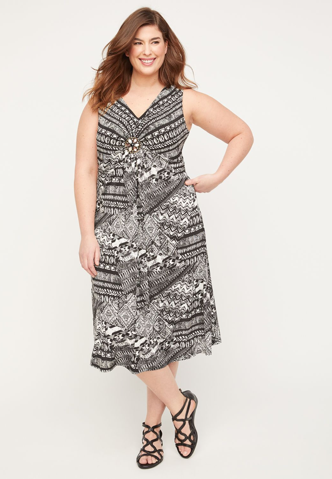 Moonlight Medallion Twist Fit & Flare Dress,