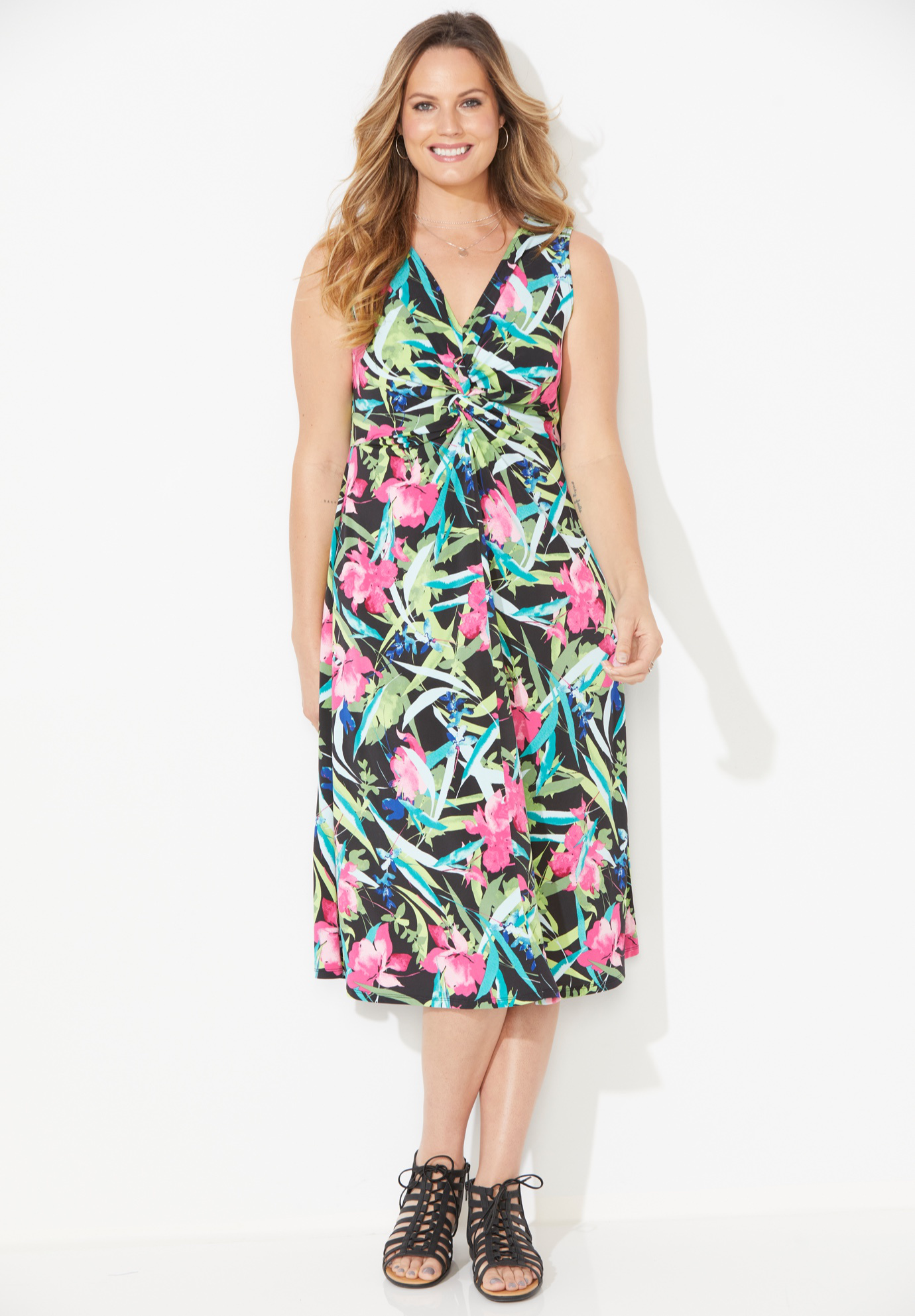Paradise Twist-Knot Fit & Flare Dress,