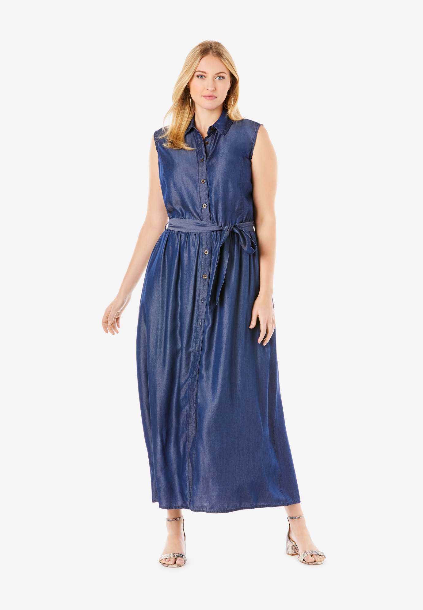 Soft Denim Fit & Flare Maxi Dress,