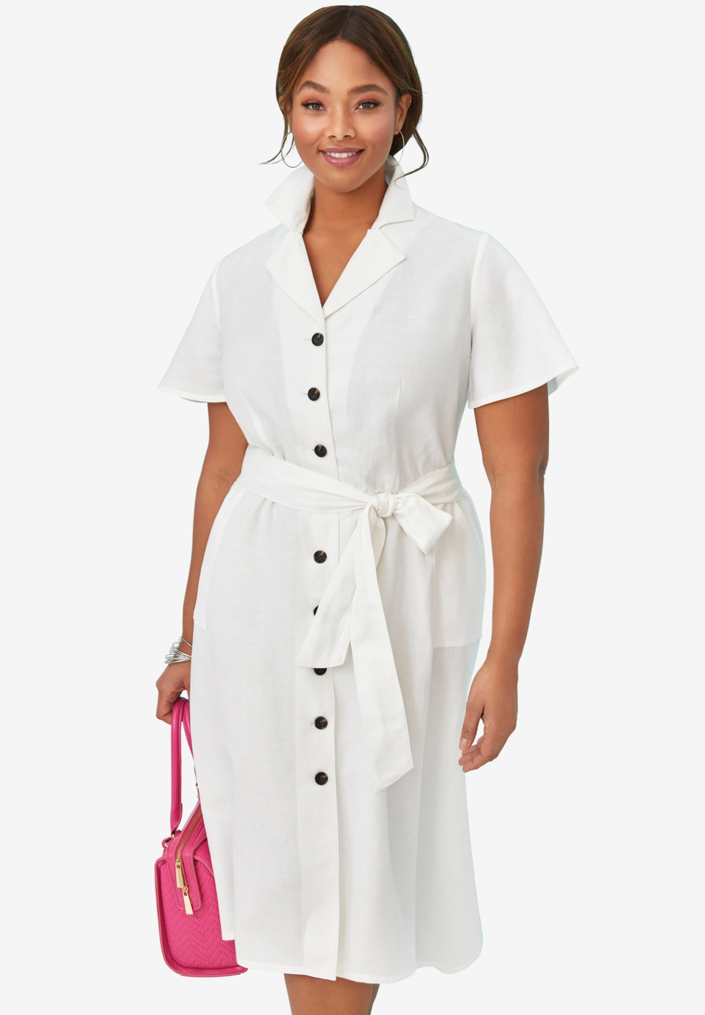 Button Down Linen Shirtdress,