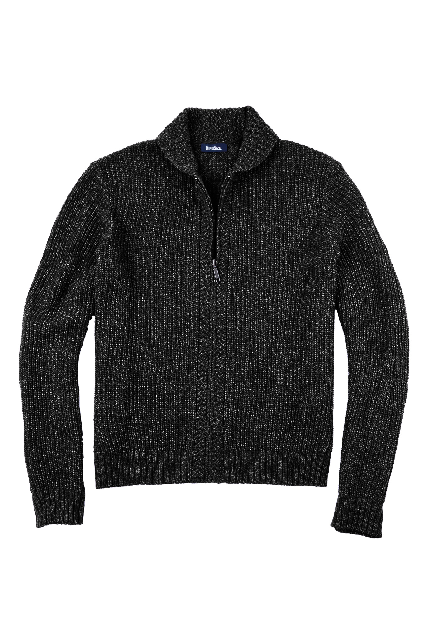 Shaker Knit Zip-Front Cardigan,