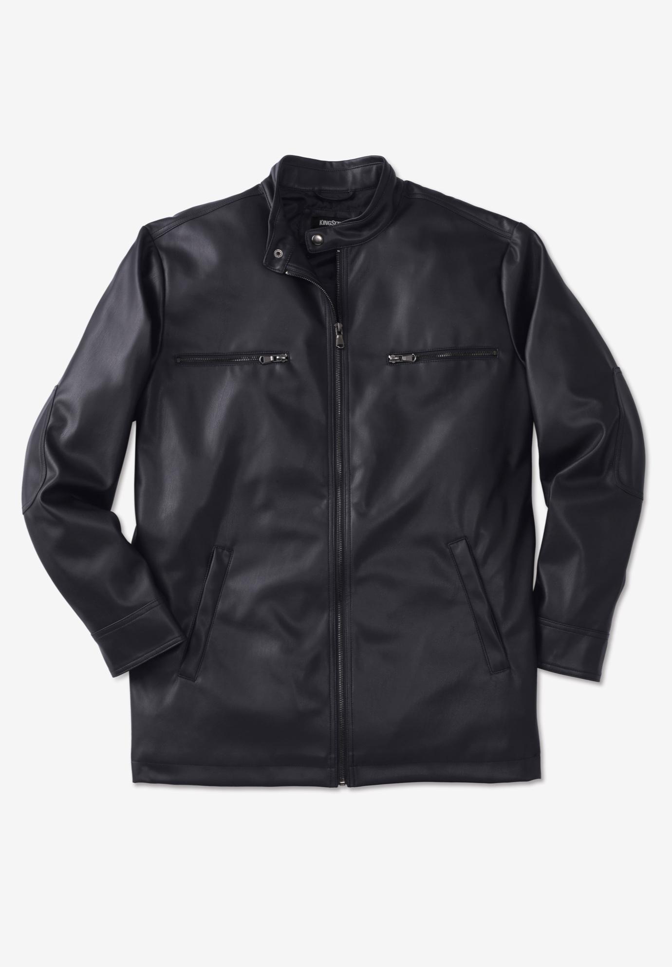 KingSize Mens Big /& Tall Faux Leather Moto Jacket