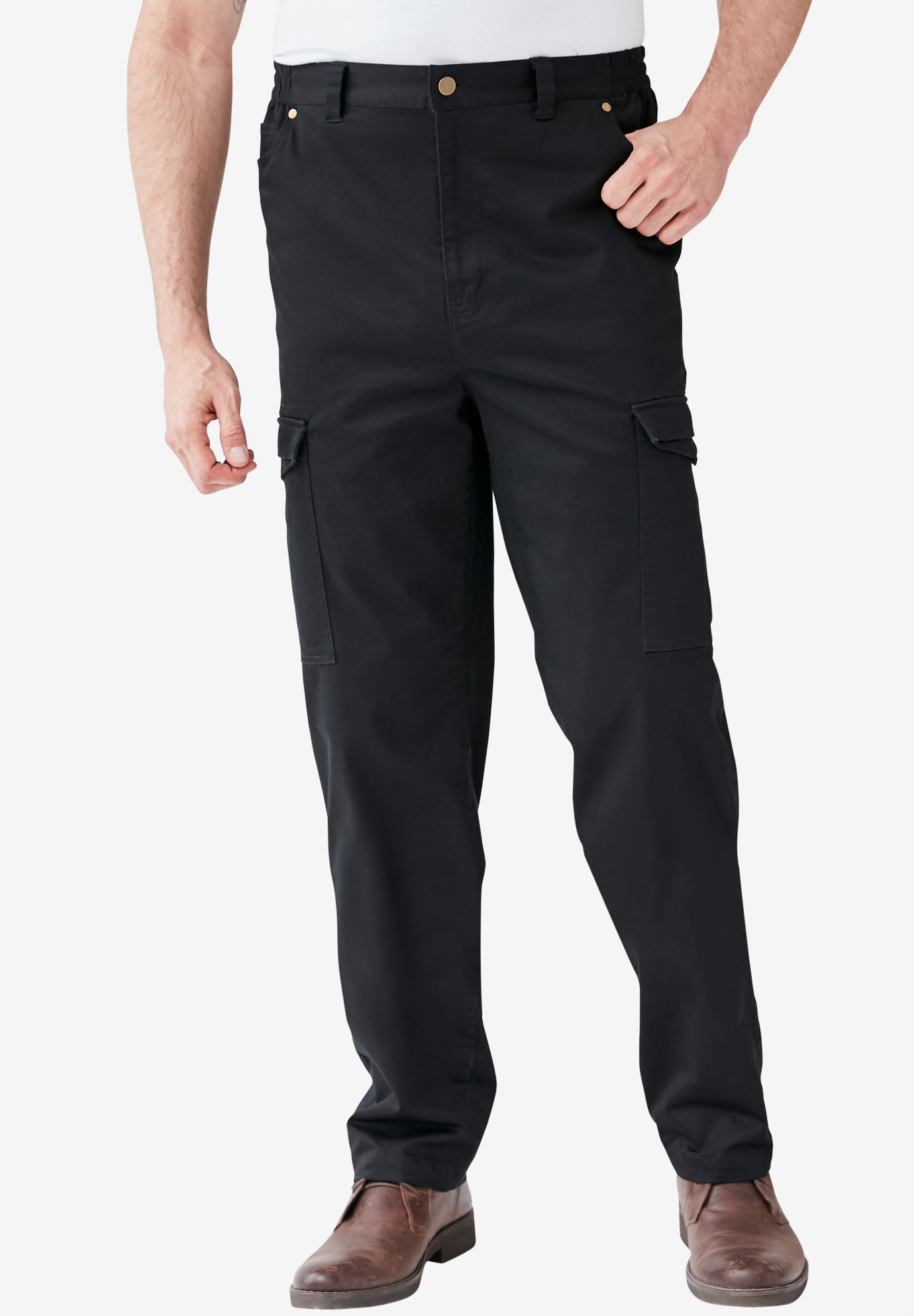 Flex Knit Cargo Pants with Side-Elastic Waist,