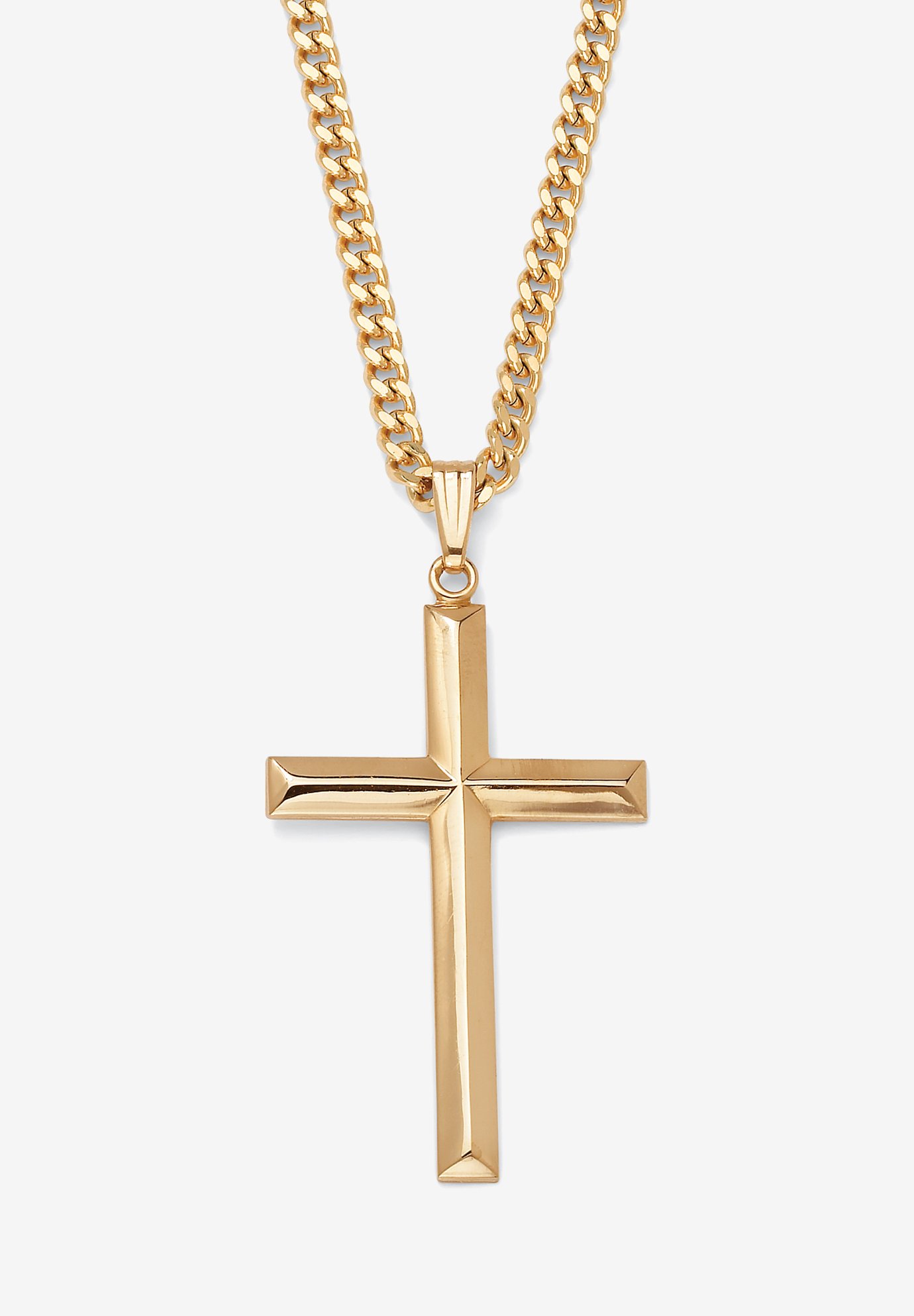 "Gold Filled Cross Pendant with 24"" Chain, GOLD"