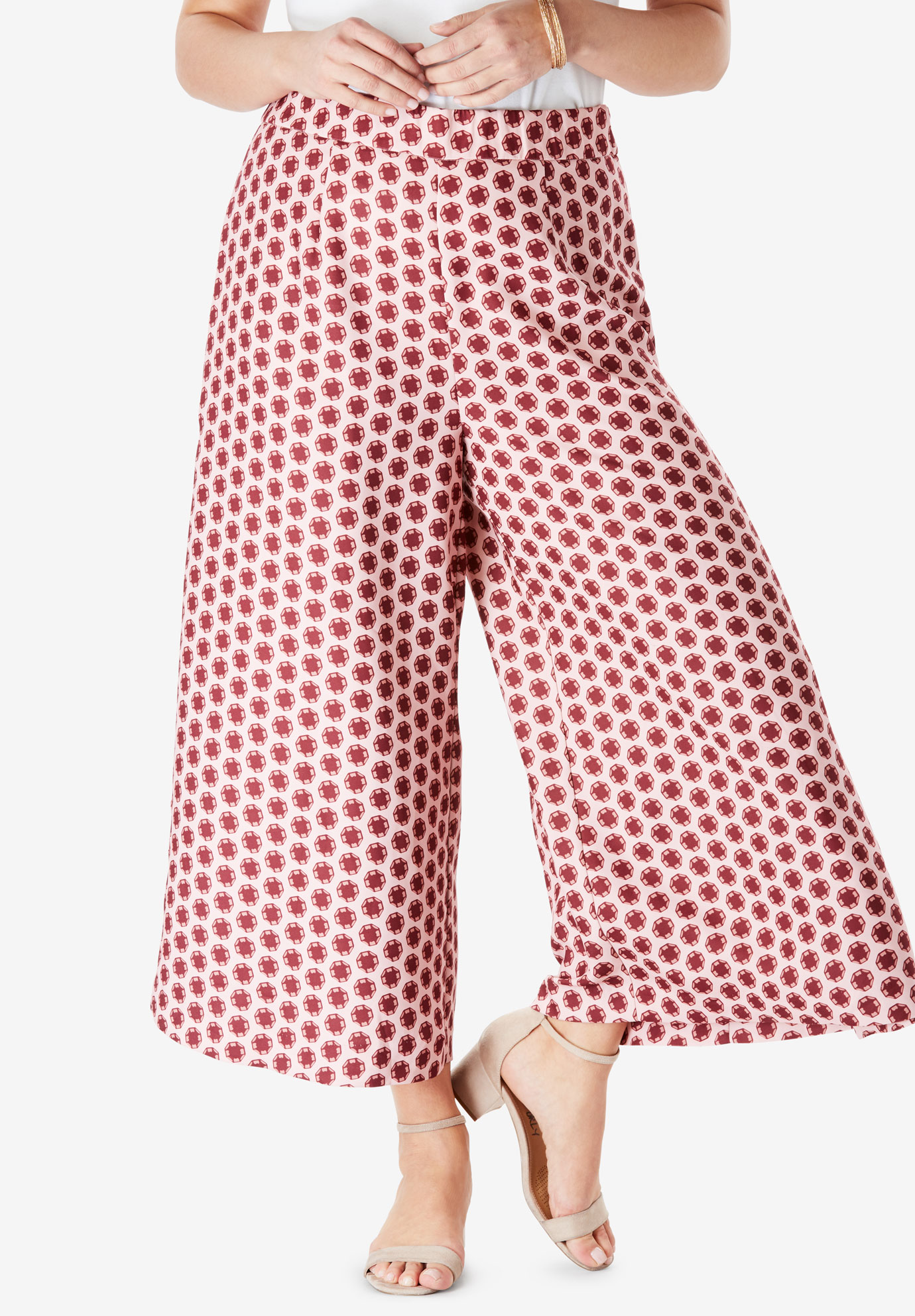Wide-Leg Culotte Pant with High Side Slits,