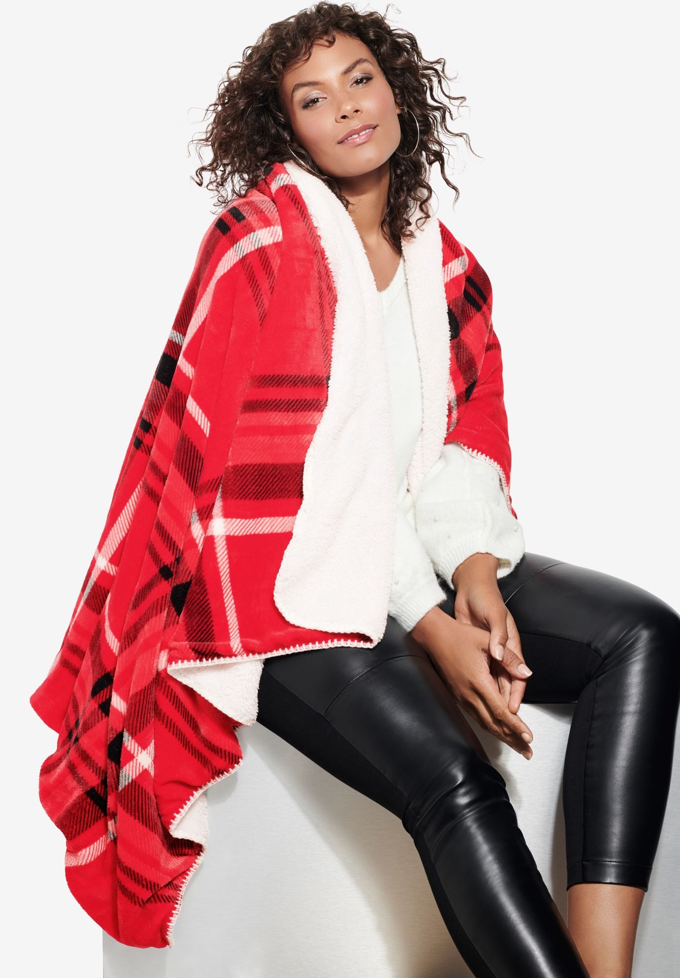 Plaid Sherpa Blanket, VIVID RED PLAID