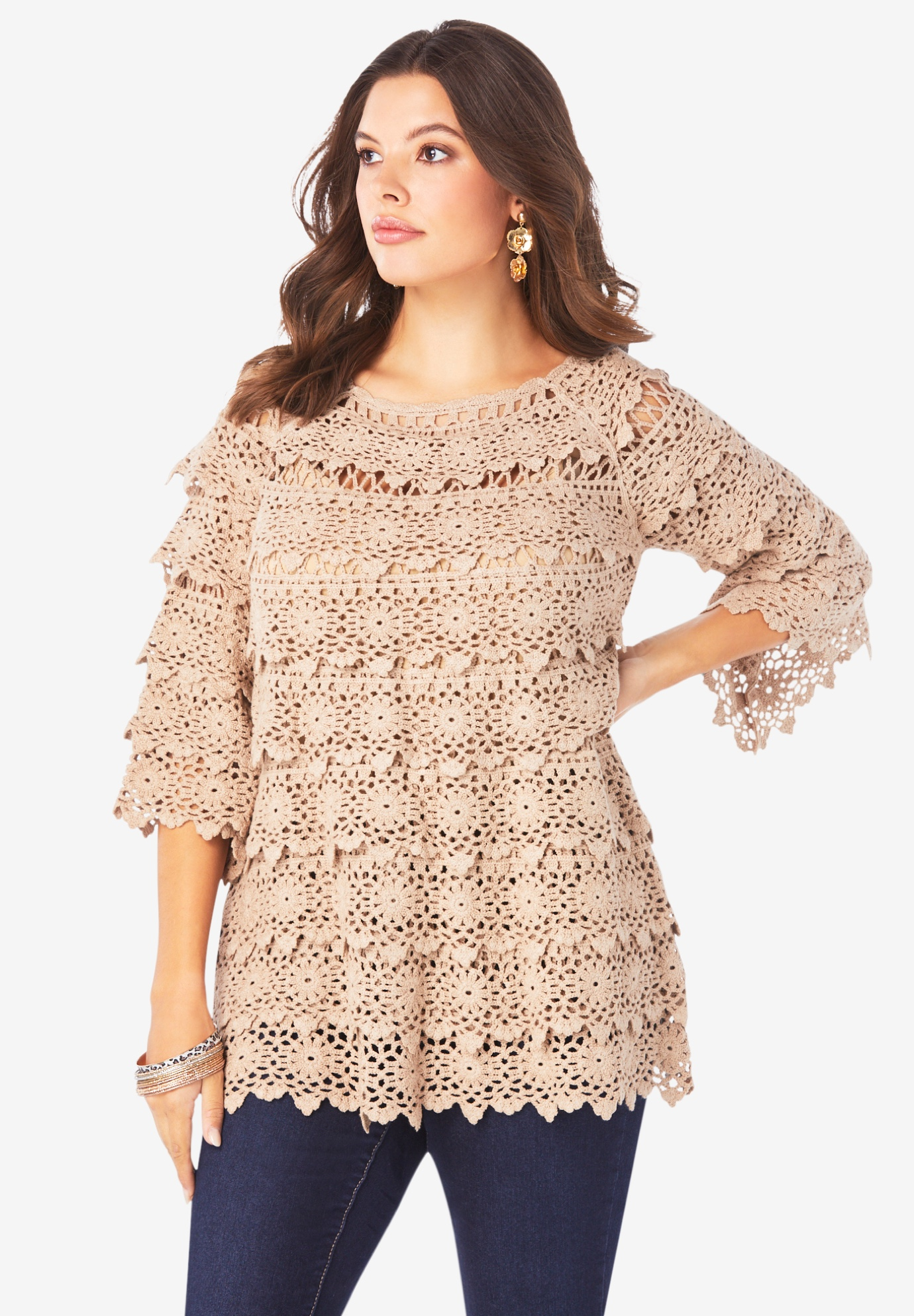 Tiered Crochet Sweater,