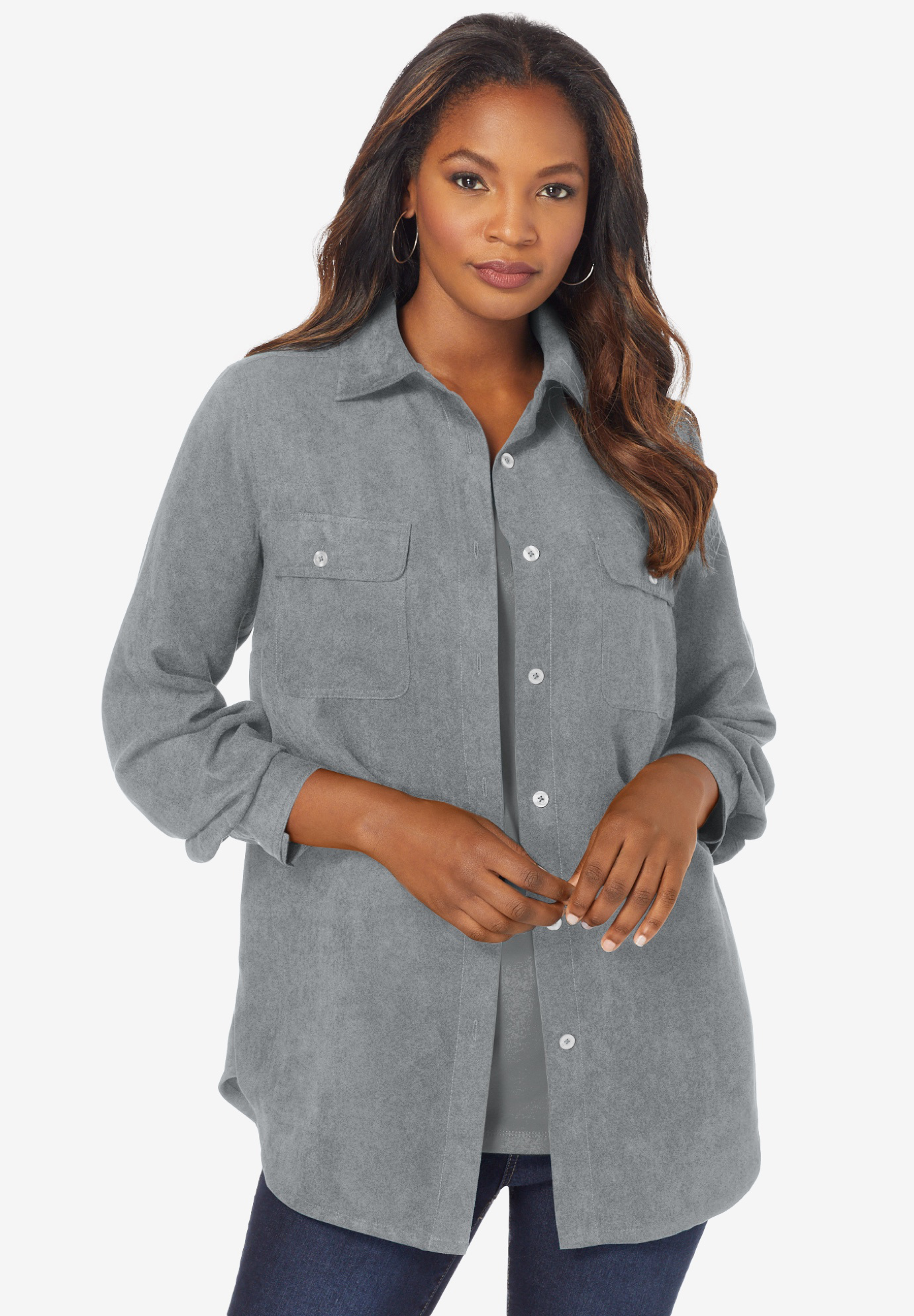 Faux Suede Big Shirt,