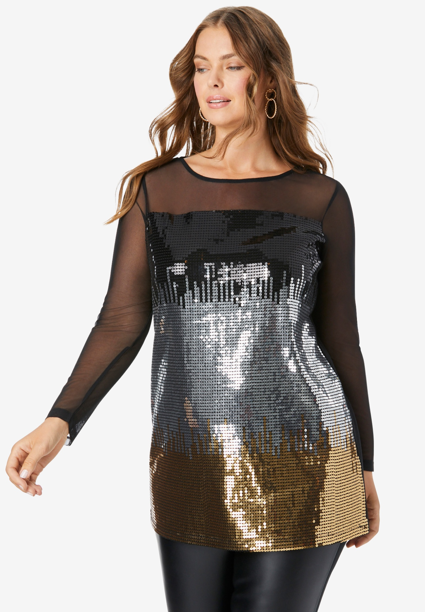 Illusion Mesh Sequin Tunic,