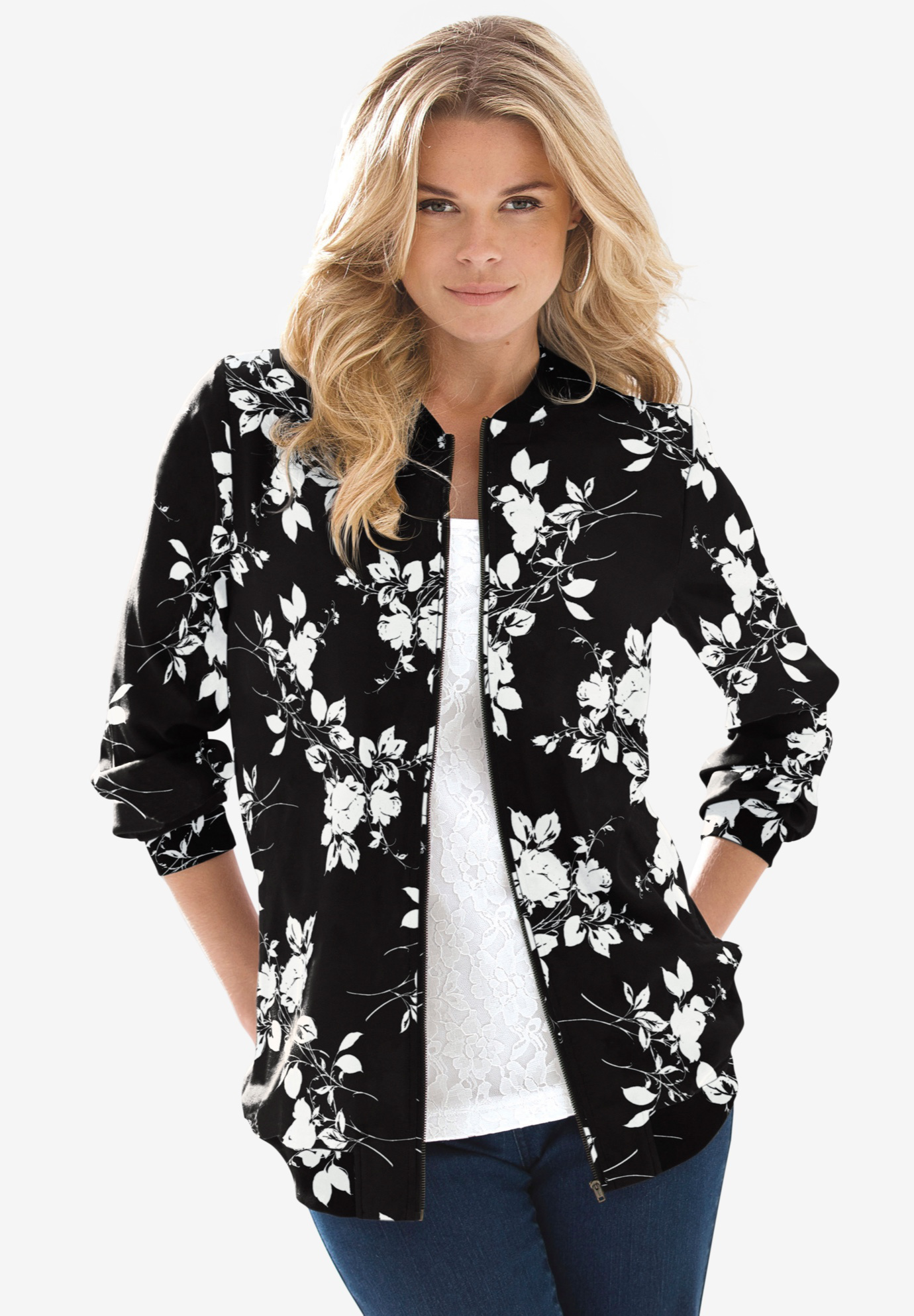 Printed Bomber Jacket,