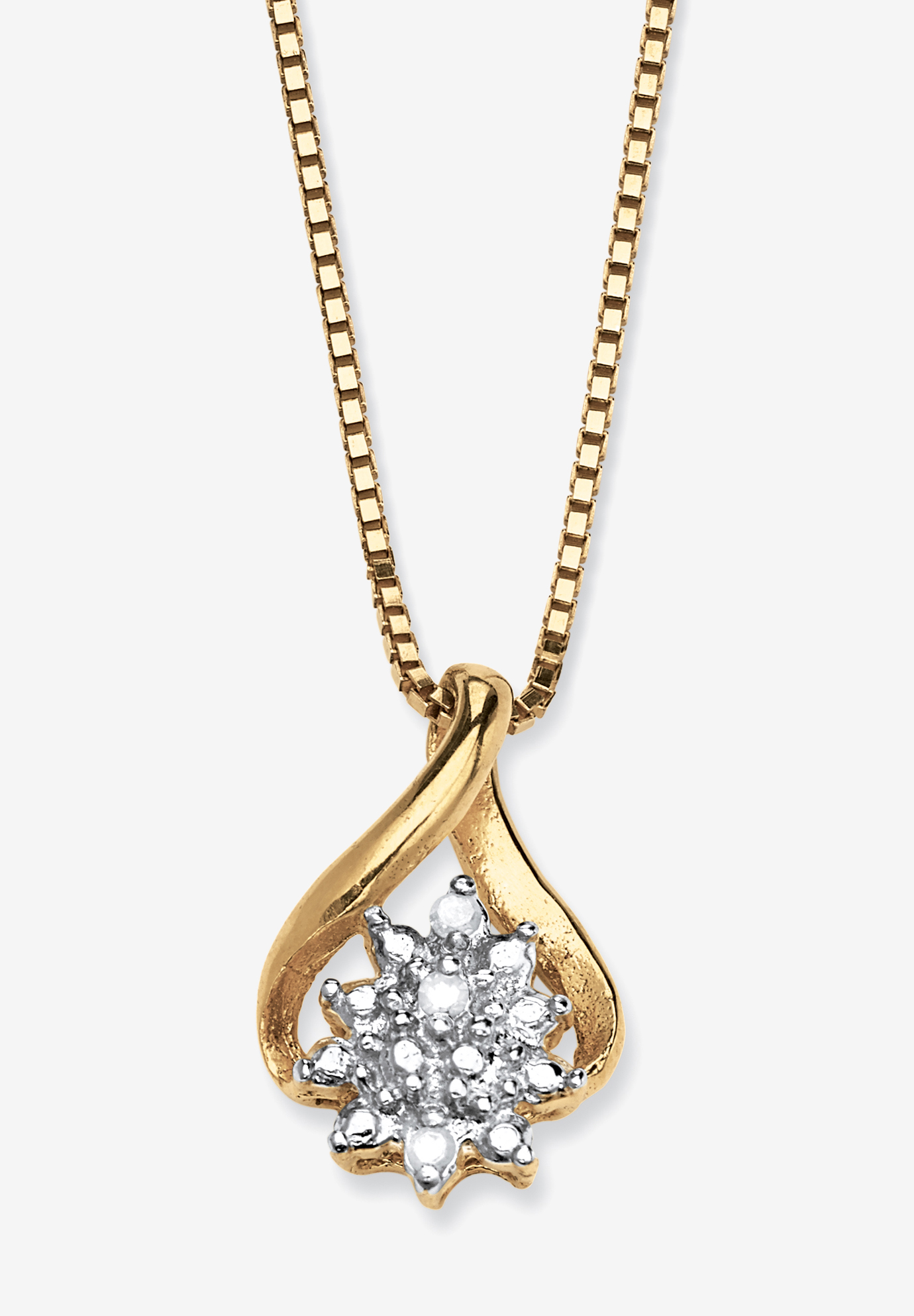 Gold & Sterling Silver Diamond Pendant, GOLD