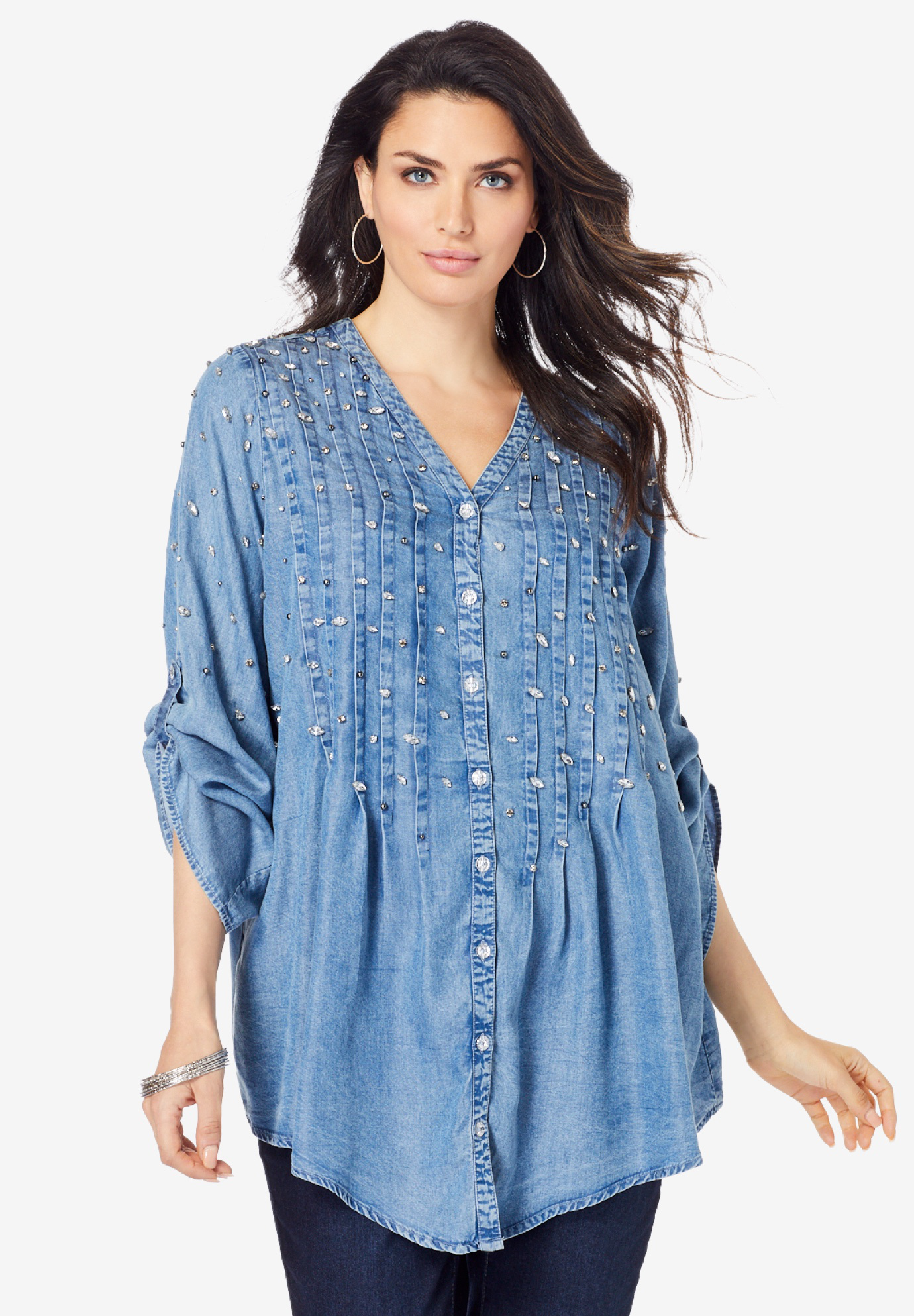 Glam-Embellished Big Shirt,