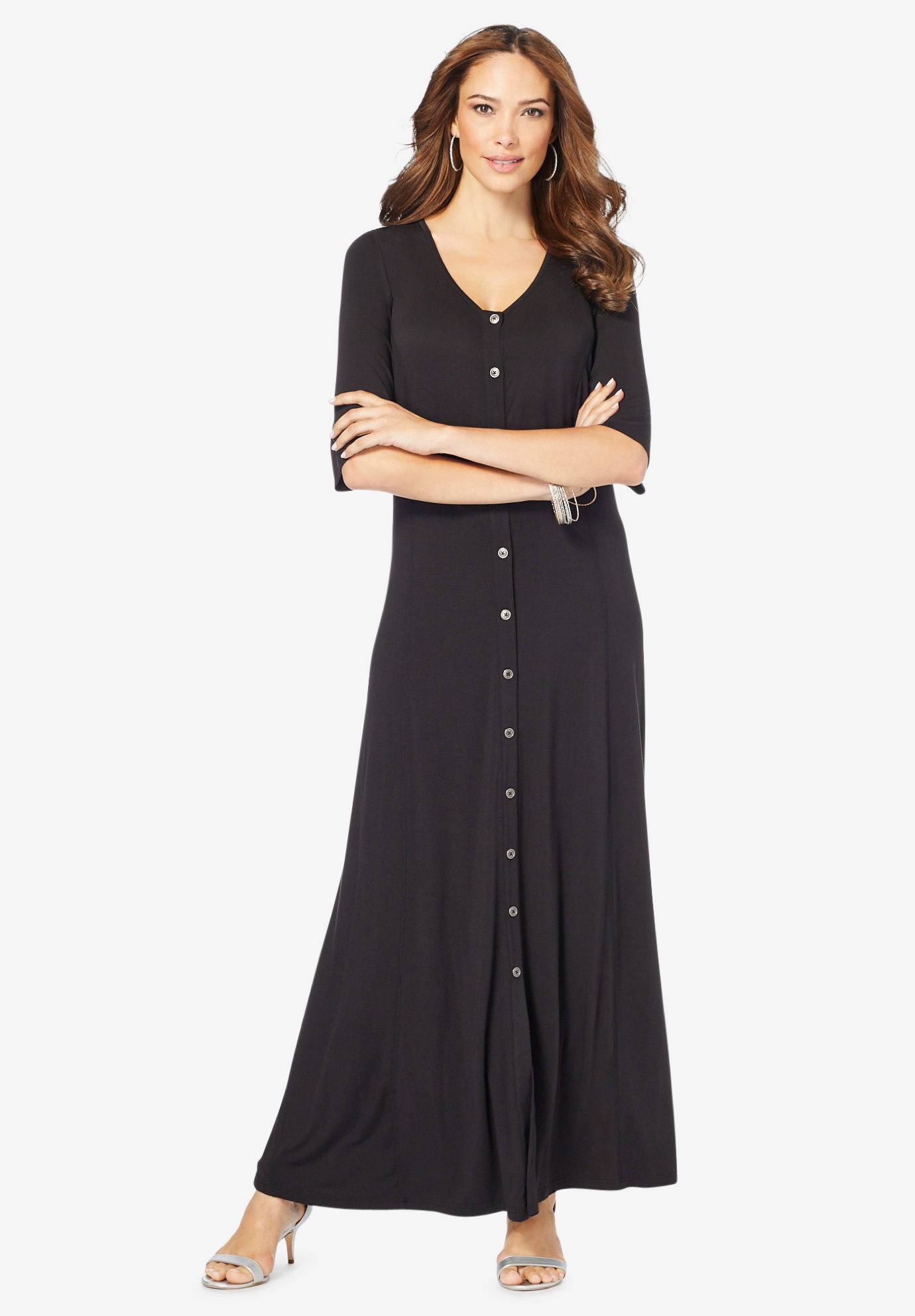 Button Front Maxi Dress,