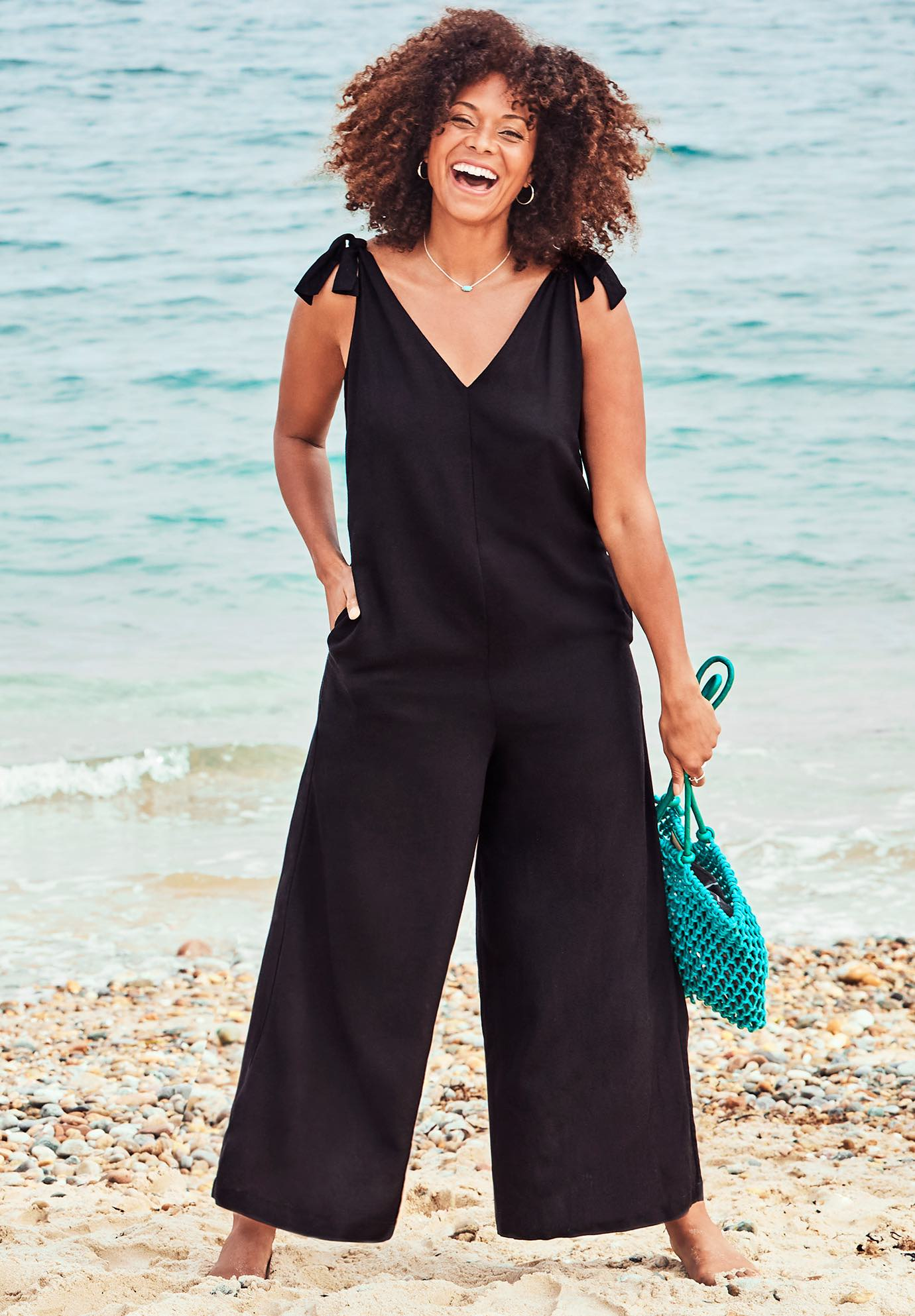 Maddie Tie Shoulder Jumpsuit Cover up,
