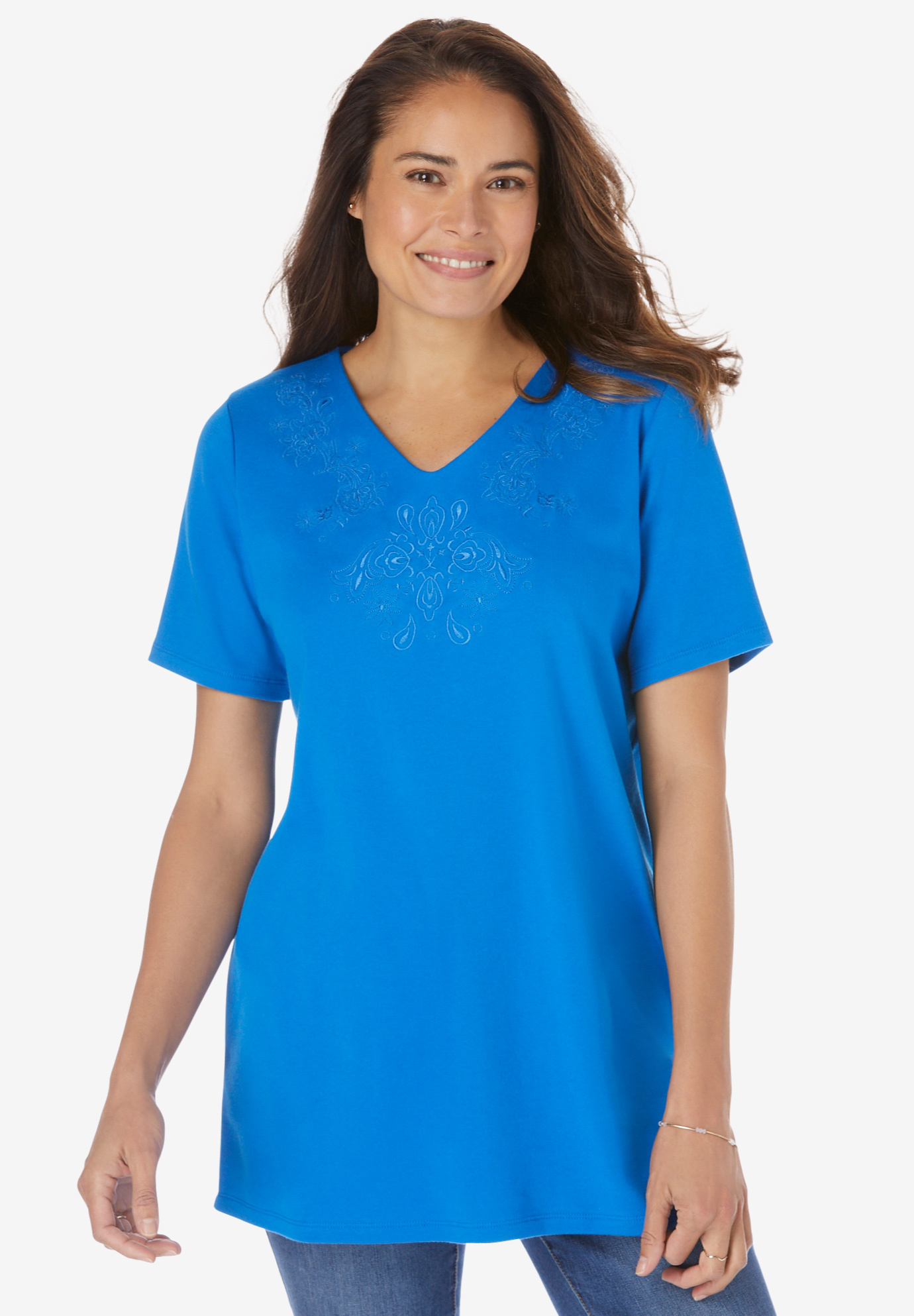 Embroidered V-Neck Tee,