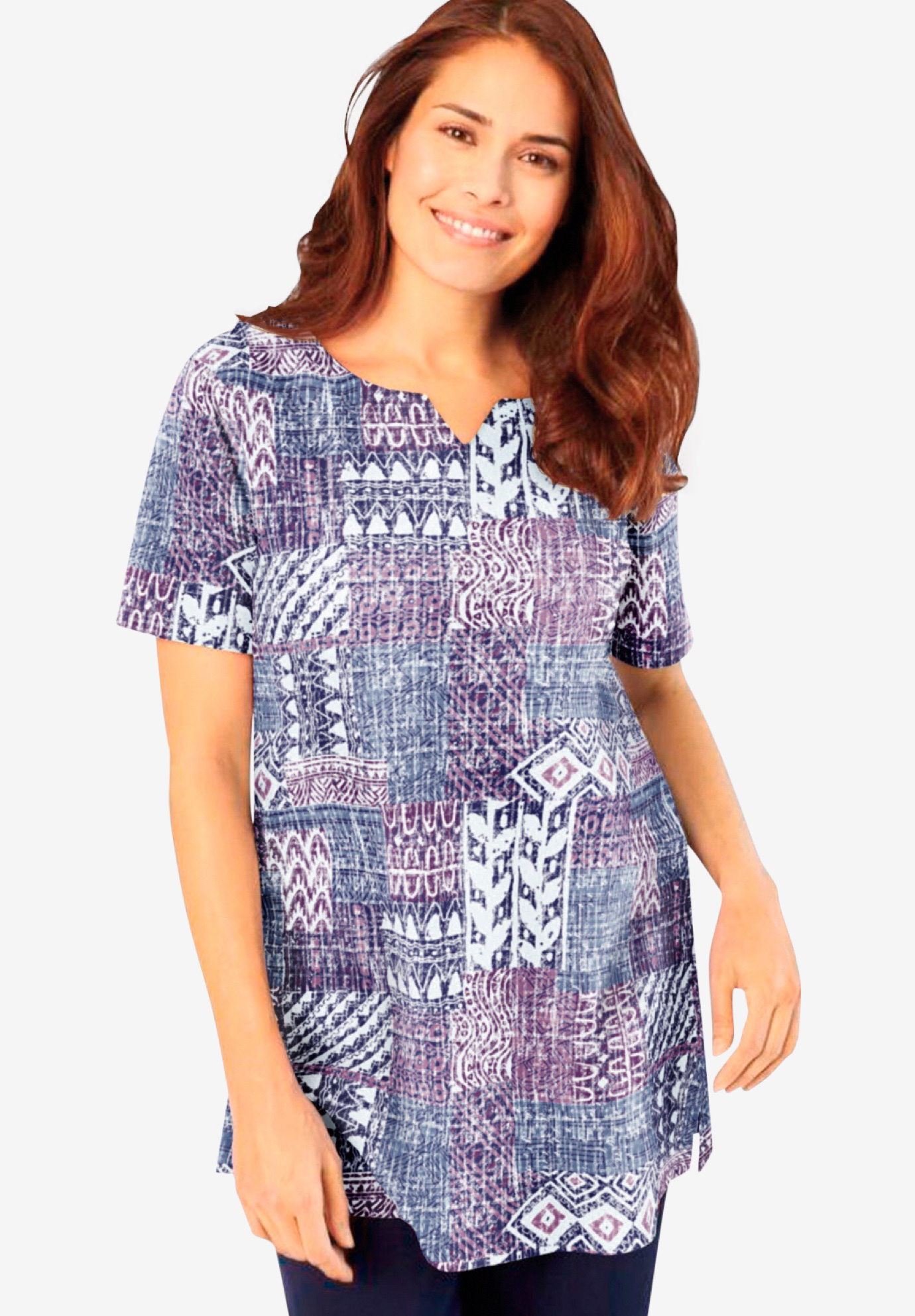 Print Patchwork Knit Tunic,