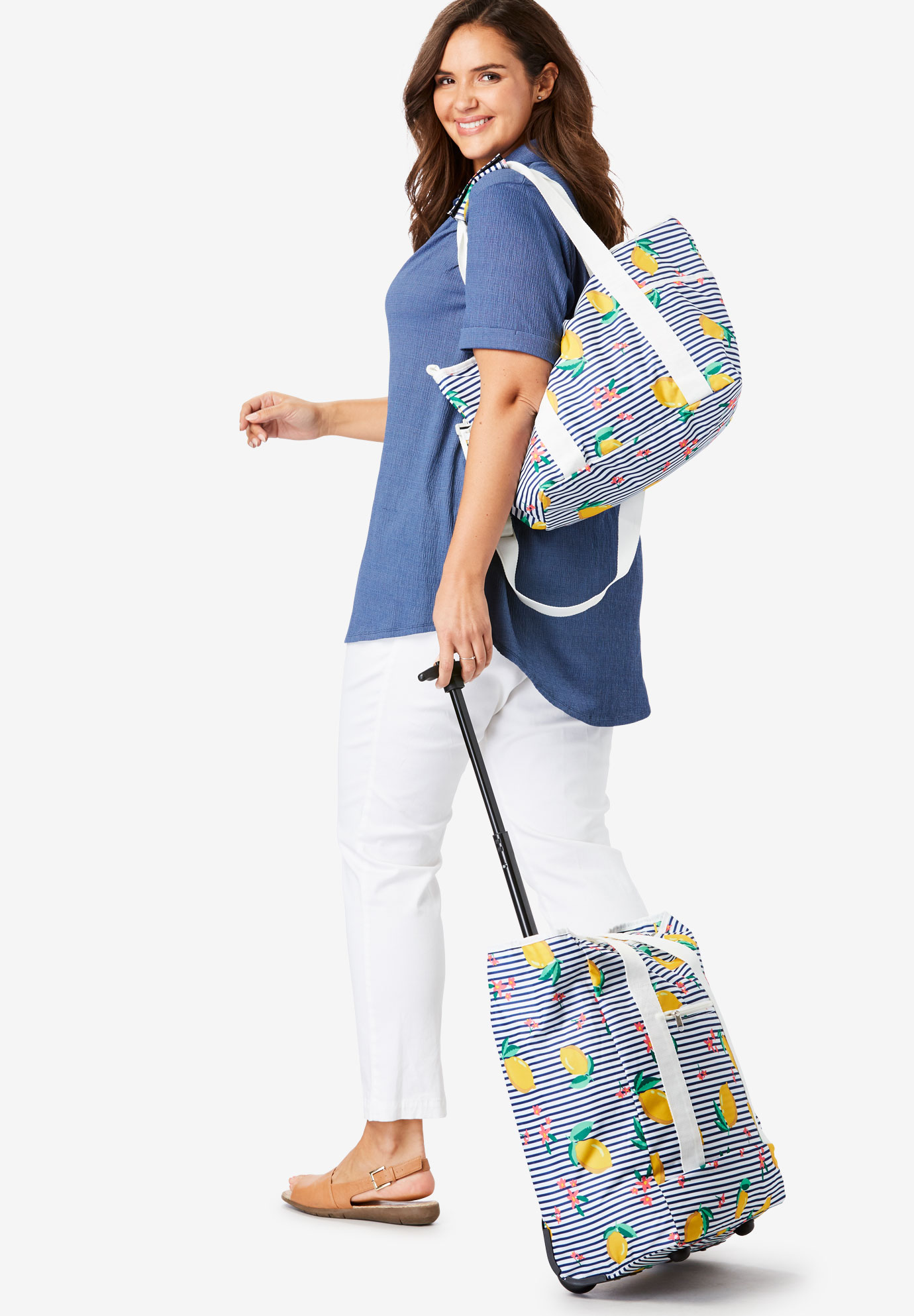 2-Piece Trolley Tote Set, LEMON STRIPE