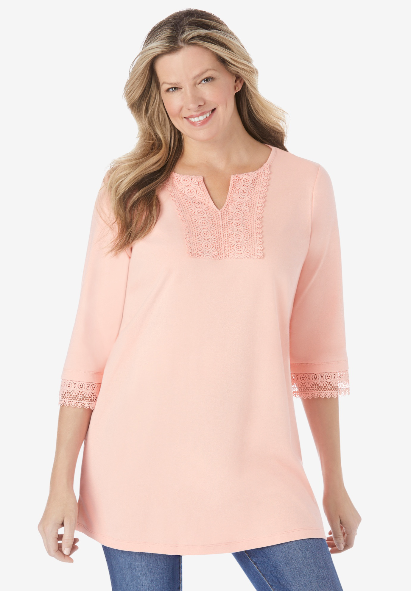Crochet Notch-Neck Tunic,