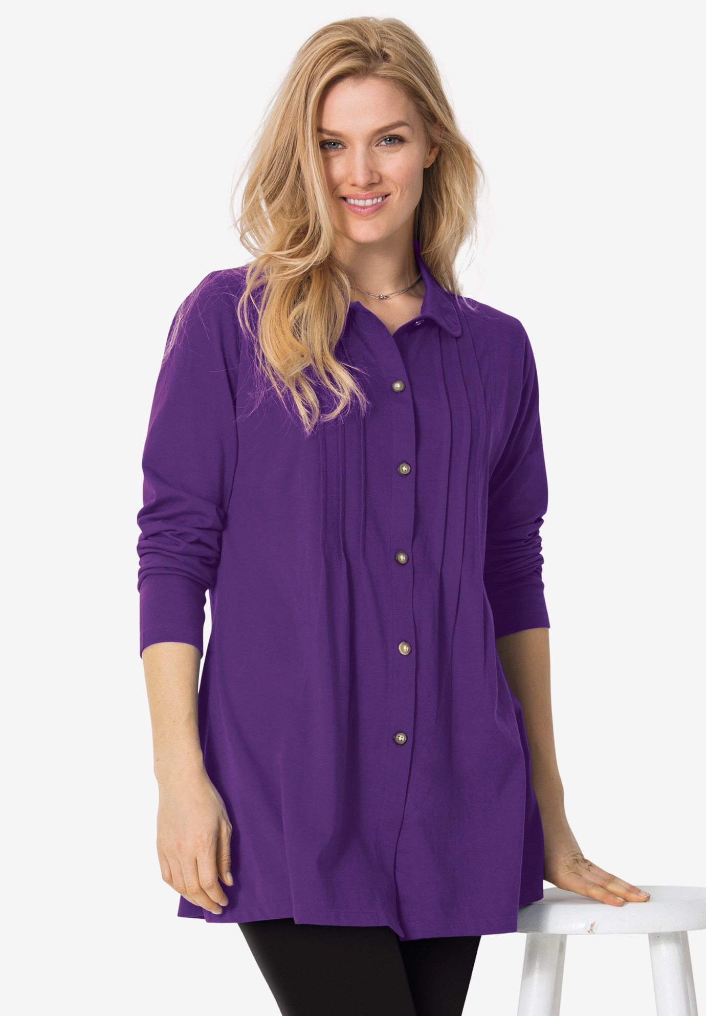 Pintucked Button-Front Tunic,