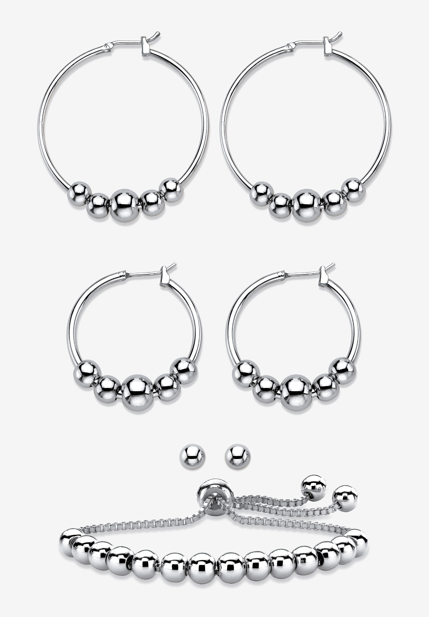 4-Piece Beaded Earrings and Bracelet Set in Silvertone, SILVER