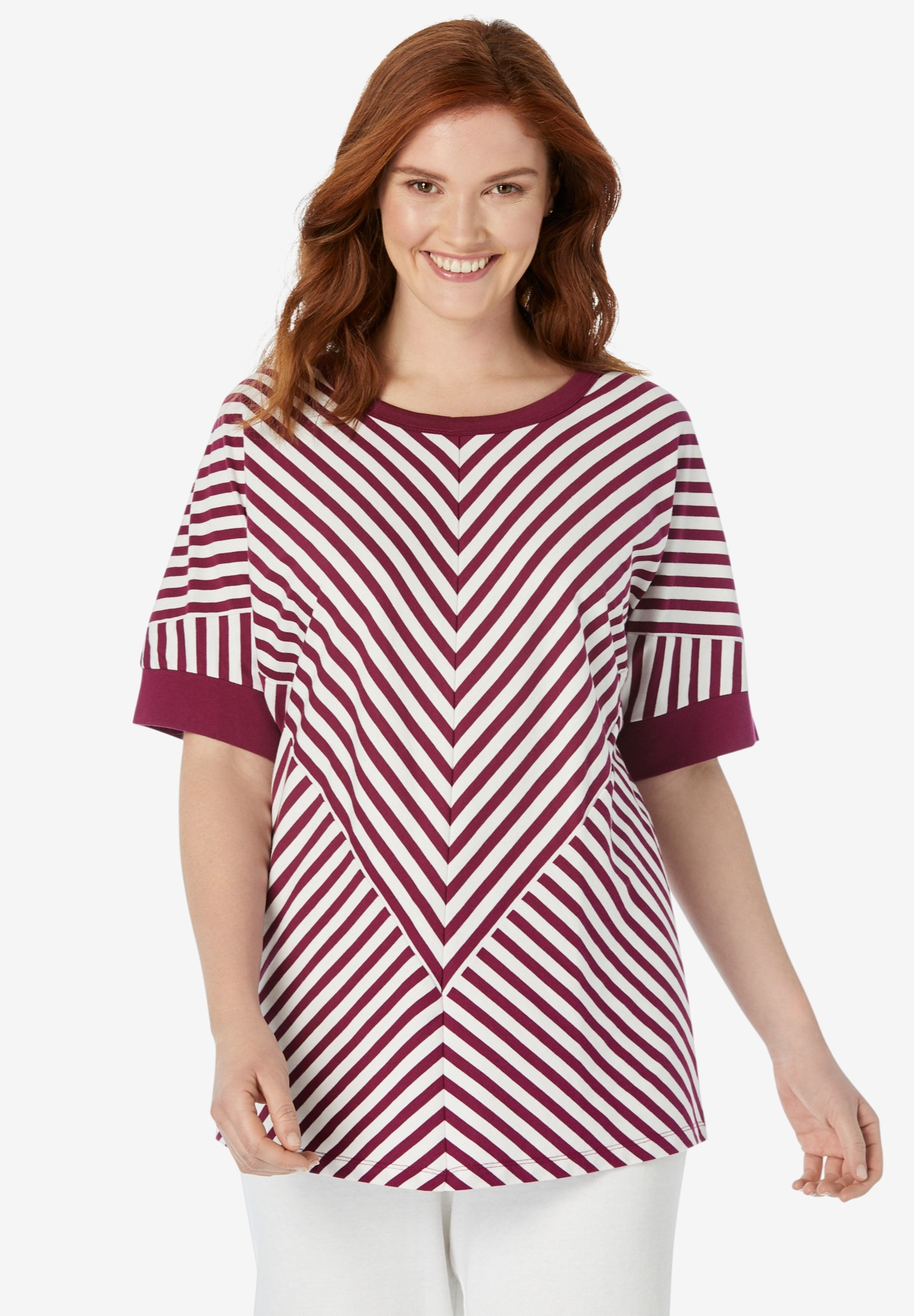 mitred striped scoopneck tee,