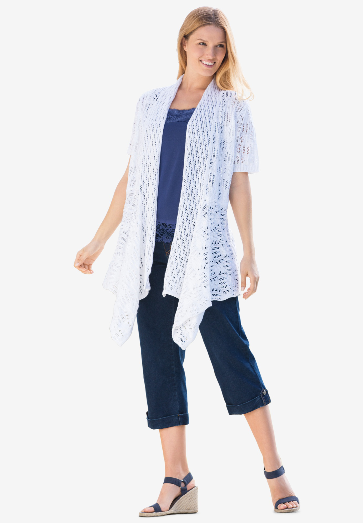 Pointelle Open Cardigan,