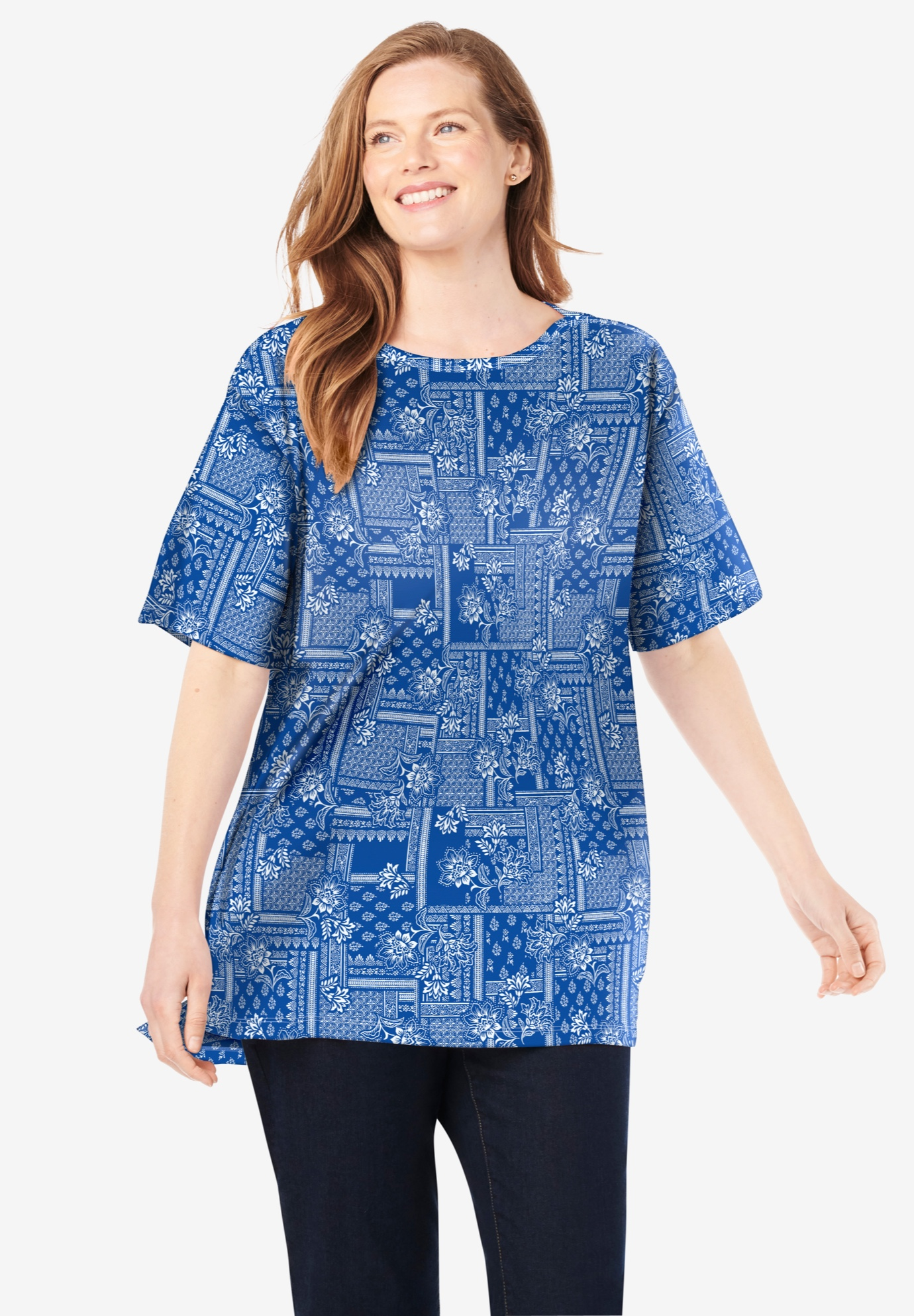 Perfect Printed Short-Sleeve Boat-Neck Tunic,