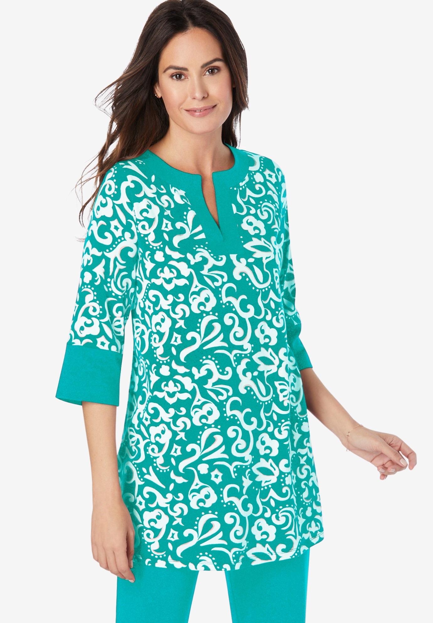 Everywear Essentials™ Banded Neck Tunic,