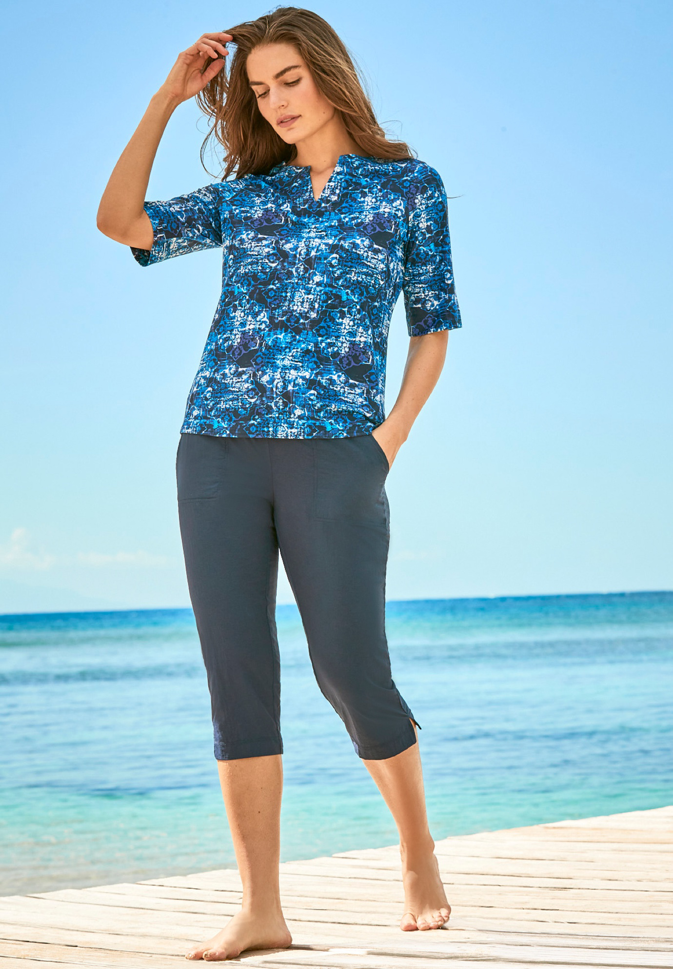 Three-Quarter Sleeve Swim Tee,