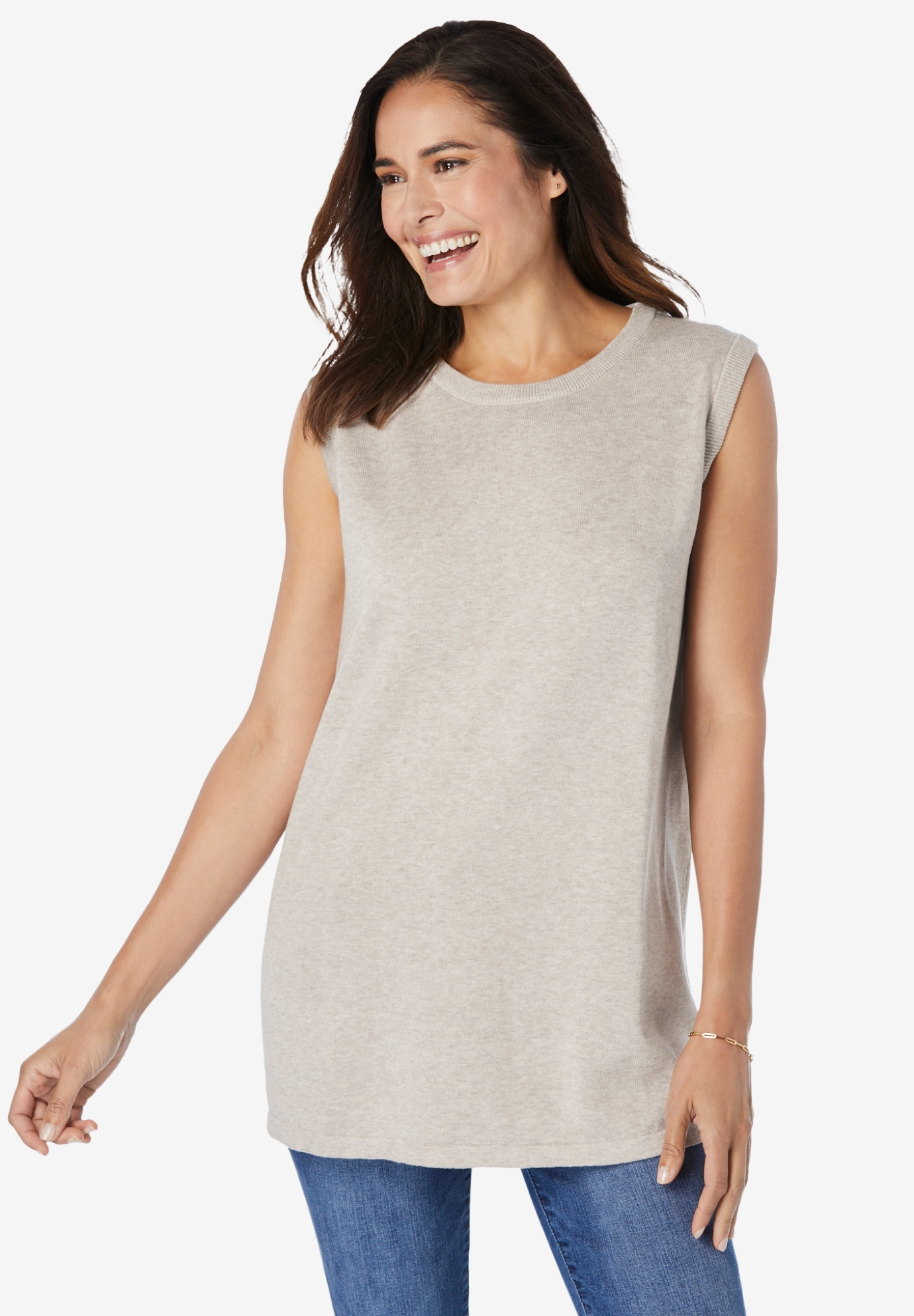 Perfect Cotton Sleeveless Crewneck,