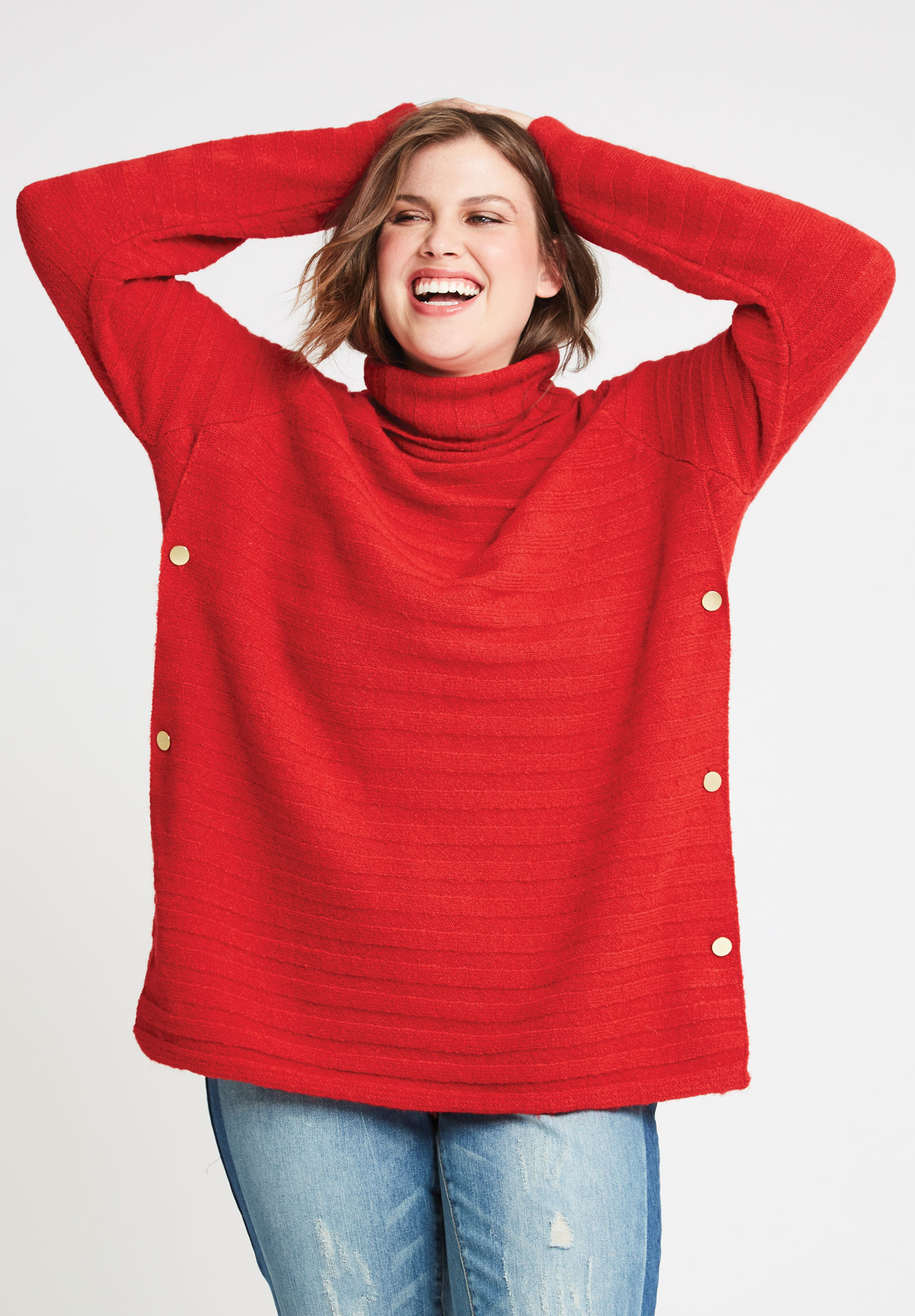 Side Button Turtleneck Sweater,