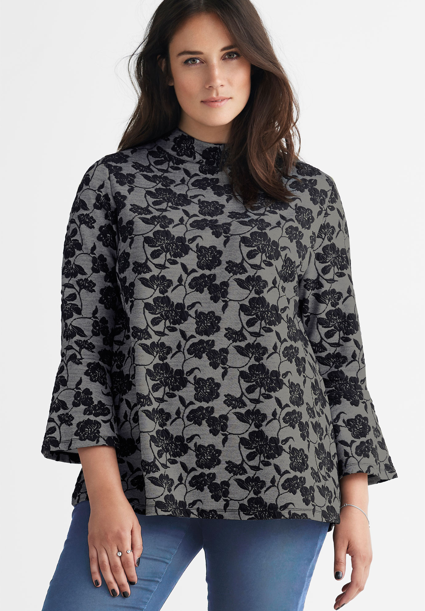 Mock Neck Jacquard Top,
